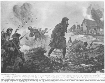 Captain A. C. De Wiart Advancing To The Attack Through An Intense Fire Barrage.