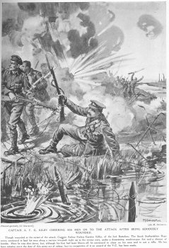 Captain A. F. G. Kilby Cheering His Men On To The Attack After Being Seriously Wounded.