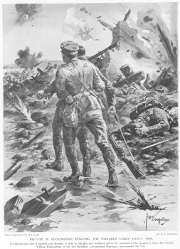 Private W. Buckingham Rescuing The Wounded Under Heavy Fire.