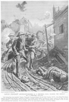 Captain (Temporary Lieutenant-Colonel) B. C. Freyberg, D.S.O., Leading The Assault On A Fortified Village.