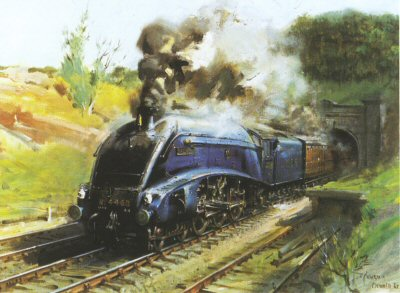 F5.  Mallard by Terence Cuneo. <p>Record breaking LNER Loco No. 4468 in full steam. The magnificent Mallard was a London and North Eastern Railway, Clas A4 4-6-2 Pacific Steam Locomotive. built by LNER Doncaster in 1938.  The Mallard was designed by Sir Nigel Gresley. The Mallard was designed to travel at speeds of 100 mph and to pull the high speed streamlined trains and remained in service until 1963 and was painted in the very distinctive garter blue with red wheels and trim.  The Mallard is the holder of the Steam Locomotives World Speed record set at 126 mph. The record was achieved on the 3rd July 1938 on the east Coast Main Line juist south of Grantham.   (The previous holder was a German DRG class o5 which stood at 124 mph set in 1936)  The Mallard was restored to full working order in the 1980s and nis now part of the national Colletion at the National Railway Museum in York. <b><p> Open edition print. <p> Image size 21 inches x 31 inches (53cm x 79cm)