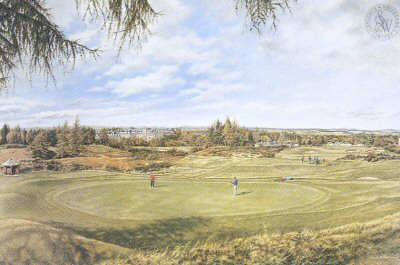 FAR636. Gleneagles - Kings Course by Mark Chadwick <p>From behind 17th green looking back to hotel, clubhouse and 18th hole.<b><p> Open edition print. <p> Image size 16 inches x 12 inches (41cm x 31cm)