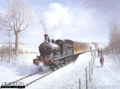 FAR867. Winter Steam by Don Breckon. <p><b>This is a sold out edition at the publisher.  We have the last 82 remaining copies.<b><p> Open edition print. <p> Image size 24 inches x 18 inches (61cm x 46cm)