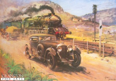 Bentley v Blue Train by Terence Cuneo.
