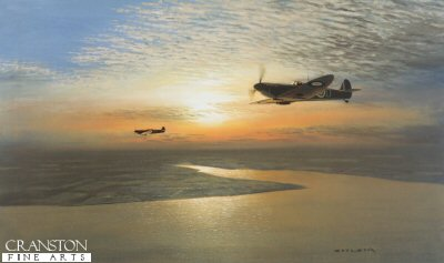 GC101.  Evening Patrol by Gerald Coulson. <p>During the early part of World War II the coastline of Britain was constantly under threat, particularly the busy shipping lanes of the North Sea.  As well as carrying out bombing raids on strategic coastal targets and ports such as Luftflotte 5s attack on the north-east in August 1940, allied shipping was regularly attacked at sea as the Luftwaffe tried to disrupt supplies.  The RAF played a vital part in protecting these supplies, escorting fishing fleets and shipping convoys, as well as long range patrols over the sea, seeking enemy activity and intercepting high altitude reconnaissance aircraft. These patrols were often long and arduous with pilots running the gauntlet of, if shot down, ditching into the sea. Often pilots would survive being hit and baling out, only to succumb to the freezing and hostile waters of the North Sea.  Often fighter squadrons being rested during the Battle of Britain, would be moved to northern locations such as Acklington and Leconfield, and carry out coastal and sea patrols before returning to the more intense fighting in the south. Flying over the Humber Estuary as the sun is setting, pilots of 610 Sqn return their MKII Spitfires to Leconfield after a convoy patrol late in 1940.  <b><p>Signed by Group Captain Desmond Sheen DFC* (deceased), <br>Wing Commander Paddy Barthropp DFC AFC (deceased), <br>Squadron Leader Neville Duke, DSO, OBE, DFC*, AFC, CzMC (deceased), <br>Group Captain Tom Dalton Morgan DSO, DFC*, OBE (deceased), <br>Squadron Leader Basil Stapleton DFC (deceased), <br>Air Commodore Peter Brothers CBE, DSO, DFC* (deceased), <br>Squadron Leader Arthur Leigh DFC, DFM (deceased) <br>and <br>Wing Commander Harbourne Stephen CBE, DSO, DFC (deceased). <p>Signed limited edition of 850 prints.  <p>Image size 30 inches x 20 inches (76cm x 51cm)