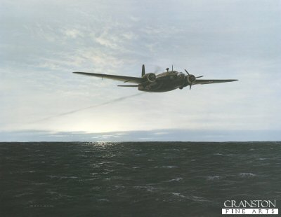 GC187. Overdue by Gerald Coulson. <p>The Vickers-Armstrong Wellington entered service life in the RAF in 1938 as a medium bomber. As the mainstay of the Bomber Command, it bore the initial brunt of the RAFs night offensive during 1940. Without the benefit of sophisticated navigation aids, the bomber crews had difficulty locating and hitting targets and also contending with rapidly improving German defences.  The picture depicts an incident at sunrise on the morning of 26th July 1940.  A Wellington 1c of 99 Squadron, based at Newmarket Heath, returns from a raid over Dortmund.  An engine fails over the North Sea and the aircraft, captained by Squadron Leader Sarll, struggled almost to its home base and crashed just south of Cambridge.  The crew survived.<b><p> Signed limited edition of 850 prints. <p> Image size 26 inches x 20 inches (66cm x 51cm)
