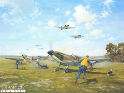GC189.  Scramble by Gerald Coulson. <p>A telephone rings at a typical flight dispersal: a call from Operations sends pilots and ground crew running for aircraft ready fuelled and armed. A mechanic starts the engine of the spitfire in the foreground and it explodes into life, blasting out blue exhaust gases, the slipstream flattening the grass and kicking up dust. A young sergeant pilot with feelings a mixture of fear and excitement, runs for his machine. The painting captures the tense atmosphere of a much repeated action from these crucial events of the Battle of Britain, as Spitfires of No.66 Squadron scramble. <p><b>Final remaining prints - We have the last 60 of this sold out edition.</b><b><p>Signed limited edition of 850 prints. <p>Image size 27 inches x 20 inches (69cm x 51cm)