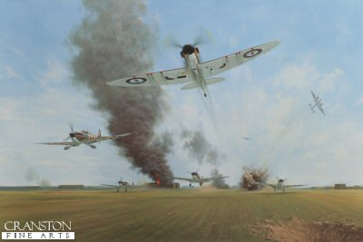 GC544. Battle of Britain, Manston, 12th August 1940 by Gerald Coulson.<p>A surprise dive bombing attack at 12.45pm as Spitfires of 65 squadron were taking off. 148 bombs were dropped on the airfield and hangars. The entire squadron got airborne with one exception, its engine was stopped by the blast from one of the bombs.<p><b>Published in 2000 to commemorate the 60th Anniversary of the Battle of Britain. We have the last 14 copies of this sold out edition.<b><p><a href=signatures.php?Signature=1279>Signed by E D Glaser (deceased)</a>. <p>Signed limited edition of 500 prints.  <p>Image size 27 inches x 18 inches (69cm x 46cm)