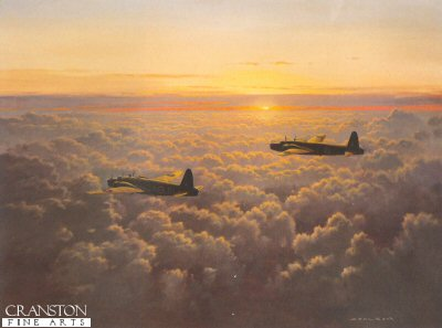 GC602.  Evening Departure by Gerald Coulson. <p>A pair of Wellington bombers of the Royal Air Force head out on a bombing mission. <p><b>Sold out at publisher.  We have the last 120 remaining prints.<b><p> Open edition print. <p> Image size 30 inches x 22 inches (76cm x 56cm)