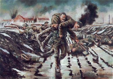 Sergeant John McAulay, 1st Battalion Scots Guards Winning the VC at Fontaine Notre Dame, France 27th November 1917 By David Rowlands. (GL)