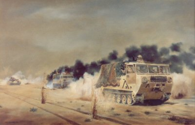 Sgt Dowling MM & L. Cpl. F. Evans, REME, February 26th 1992 by David Rowlands (GL)