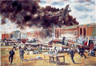 RAF Henlow, MU13 Being Bombed by David Rowlands (GL)