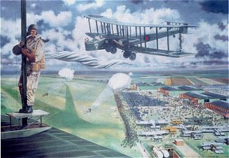RAF Henlow, Parachuting, Empire Day, May 1938 by David Rowlands. (GS)