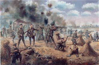 1st Battalion Cheshire Regiment at Audregneis, 24th August 1914 by David Rowlands. (Y)