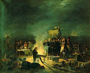 Napoleons Bivouac at Wagram on the 5th-6th July 1809 by Adolphe Roehn. (GS)
