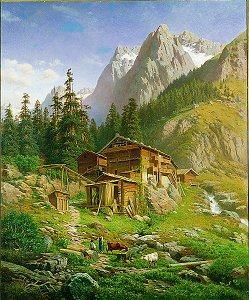 An Alpine Mill House, 1864 by Georg Engelhart. (GS)