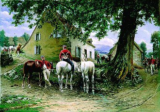 Horsemen Resting by Auguste Louis Georges Loustaunau.  (GL)