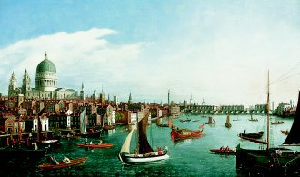 The Thames Looking Towards London Bridge with the Royal Barge  by William James. (GS)