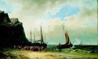 A Coastal Scene 1869 by Gerrit Cornelis Verburgh. (GL)