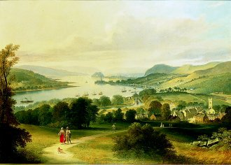 Dumbarton Rock From Bowling, 1865 by Thomas Dudgeon. (GS)
