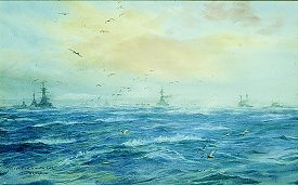 The Scapa Flow. A Winter Gale by W L Wyllie. (GL)