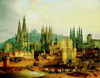 A View of Burgos by Hubert Sattler. (GL)