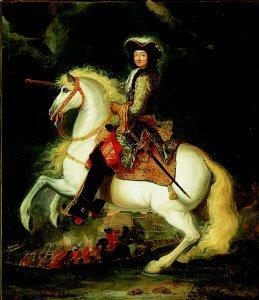 An Equestrian Portrait of Louis XIV by a follower of Adam van der Meulen. (GL)