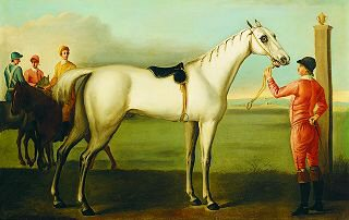 A Grey Racehorse, Probably Jason, with a Jockey by Thomas Spencer (1700-1767) (GS)