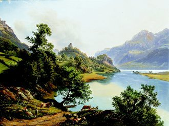 A View of the Rhine Valley by Karl Christian Sparmann. (GL)