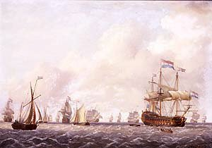 A Dutch Fleet in a Light Breeze by Charles Martin Powell. (GS)