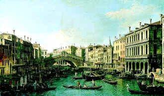 Grand Canal and the Rialto Bridge by Giovanni Antonio Canaletto. (GS)