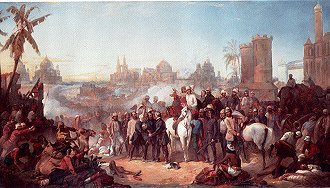 The Relief of Lucknow during the Indian Mutiny by Thomas Jones Barker. (GS)