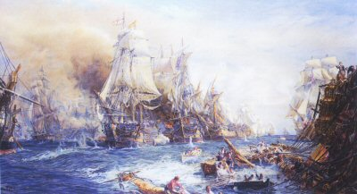 Battle of Trafalgar at 2.30pm by W L Wyllie.
