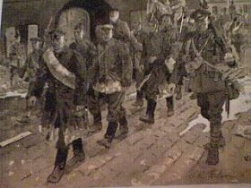 German Prisoners being Marched into Captivity 1917 by Gordon Wilson. (P)