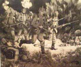 Night Attack by German Infantry of the 12th Regiment by Gordon Wilson. (P)