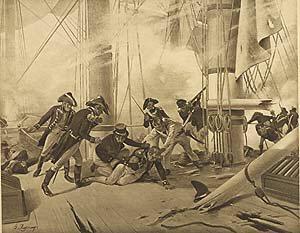 Battle of Trafalgar, 1805 by Henry Dupray. (P)