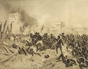Siege of Badajos, 1812 by Henry Dupray. (P)