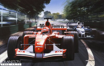 Flying Start, Schumacher and Montoya at Melbourne 2002 by Ivan Berryman.
