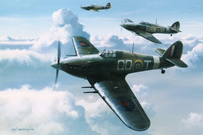3 Squadron Hurricanes by Ivan Berryman.