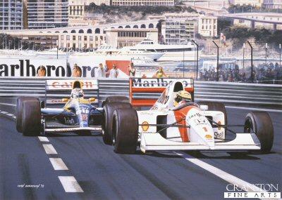 The Duel - Nigel Mansell and Ayrton Senna at Monaco, 1992 by Ivan Berryman.
