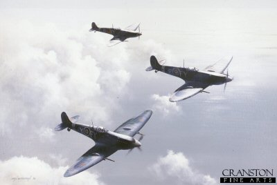 Spitfires of No.611 West Lancashire Squadron by Ivan Berryman. (B)