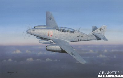 IW5. Moskito-Jager by Iain Wyllie. <p>An Me262B-1a of 10/NJG.11 Kommando Welter climbs to operational altitude to begin an anti-Mosquito patrol in March 1945.  The Royal Navy&#39;s best test pilot, Captain Eric Brown, chief naval test pilot and commanding officer of the Captured Enemy Aircraft Flight Royal Aircraft Establishment, who tested the Me 262 noted: <i>This was a Blitzkrieg aircraft. You whack in at your bomber. It was never meant to be a dogfighter, it was meant to be a destroyer of bombers... The great problem with it was it did not have dive brakes. For example, if you want to fight and destroy a B-17, you come in on a dive. The 30mm cannon were not so accurate beyond 600 metres. So you normally came in at 600 yards and would open fire on your B-17. And your closing speed was still high and since you had to break away at 200 meters to avoid a collision, you only had two seconds firing time. Now, in two seconds, you can&#39;t sight. You can fire randomly and hope for the best. If you want to sight and fire, you need to double that time to four seconds. And with dive brakes, you could have done that.</i><b><p>Open edition print. <p> Image size 16.5 inches x 11.5 inches (42cm x 29cm)