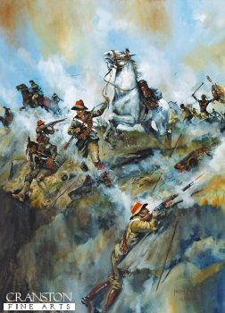 Hlobane 22nd March 1879 - Mossops Leap, Trooper Mossop and Warrior by Jason Askew. (PC)