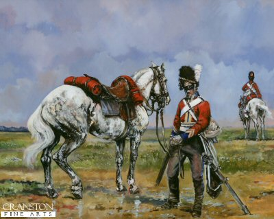 Study of a cavalryman of the Scots Greys at the time of the Battle of Waterloo in the Napoleonic Wars.