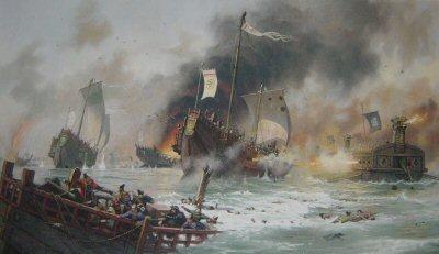 JMG1. Japanese Samurai Attack the Mongol Invasion Fleet of Khubilai Kahn, 1281 by John Michael Groves.