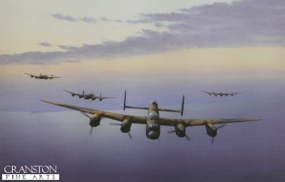 KA11. Climbing Out by Keith Aspinall. <p>A flight of Lancaster bombers from a Bomber Command squadron climb away from the British coastline on yet another bombing raid on Nazi held Europe. A superb painting and a great tribute to the crews of the Lancaster bomber squadrons.<p><b>Last 6 prints available.</b><b><p> Open edition print. <p> Image size 14.5 inches x 9.5 inches (37cm x 24cm)