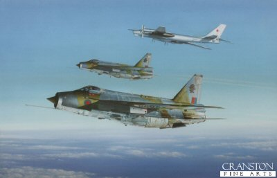 KA2.  Cold War Intercept by Keith Aspinall. <p>Lightnings of Mo.11 Sqn intercept a Soviet Bear over the North Sea<p>Last 20 prints available.</b>.<b><p>Open edition print. <p> Image size 14.5 inches x 9.5 inches (37cm x 24cm)