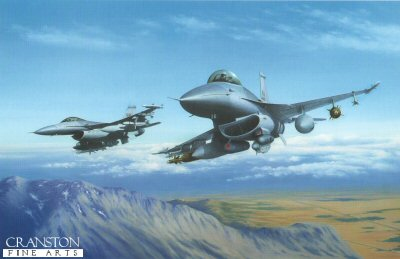 KA3.  Fighting Falcons by Keith Aspinall. <p>F16Cs of the 52nd Fighter Wing and the 31st Fighter Wing in action over the Balkans.<b><p>Open edition print. <p> Image size 14.5 inches x 9.5 inches (37cm x 24cm)