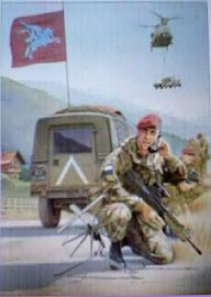 216 Parachute Signal Squadron, Kacanik Defile, June 1999 by Kevin Lyles. (AP)