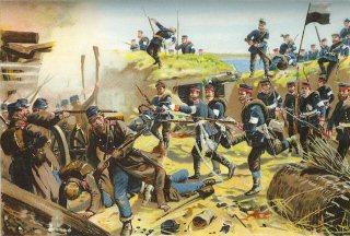 Die Ersturmung der Duppeler Schanzen am 18th April 1864. Abteilungen des 3.u.4 Garde Regiments erobern Schanze I by Richard Knotel